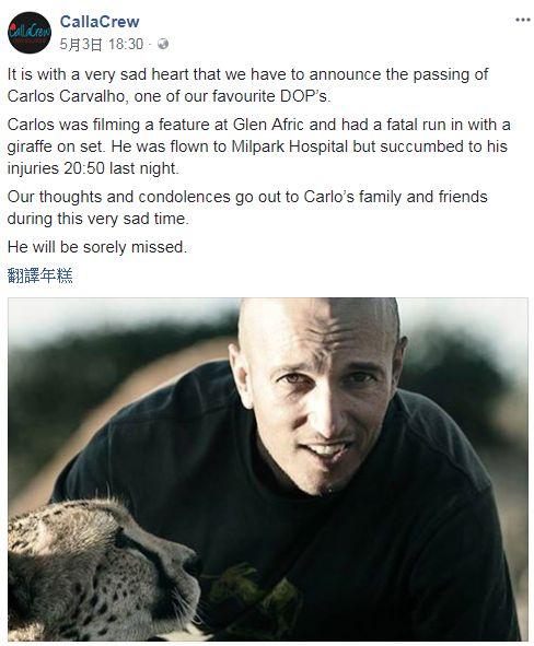 南非攝影師卡瓦略拍電視劇時,遭長頸鹿撞飛送醫不治。(圖/翻攝CallaCrew臉書)