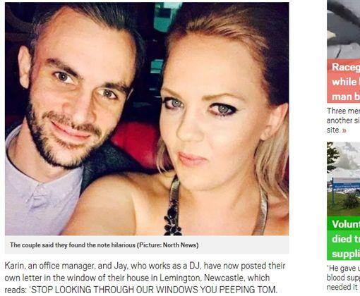 英國,新堡,巨乳,人妻,夫妻,小雞雞,鄰居,投訴信,偷窺(圖/翻攝自英國《都市報》http://metro.co.uk/2018/05/07/neighbours-note-says-sick-seeing-couples-big-boobs-little-willy-7525986/)