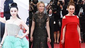 第71屆法國坎城影展開幕式,紅毯。(合成圖/翻攝自微博)