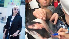 范冰冰前往法國出席坎城影展,外國粉絲拿李冰冰照片給她簽名。(合成圖/翻攝自微博)