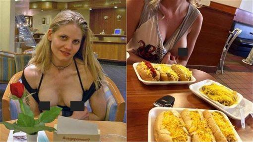 美食,自拍,露奶,露點,網路,裸露,裸體,速食店,酒吧,咖啡聽,餐廳,天體 圖/翻攝自太陽報 https://goo.gl/7SRjVt