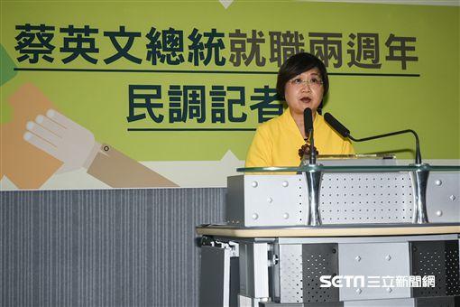 總統蔡英文就職兩週年民調發布記者會。 (圖/記者林敬旻攝)