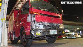 救火路上發生意外! 消防車遭轎車撞車頭爛