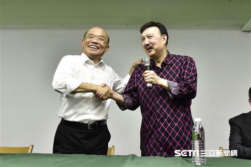 民進黨新北市參選人蘇貞昌表示,身為首長,首要目標就是要建設新北大眾運輸交通工具。(圖/林惟崧攝)