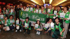 前進WHA 聯合國協進會國際發聲台灣聯合國協進會(TAIUNA)理事長蔡明憲(二排右6)17日晚間率團前往日內瓦,將在WHA(世界衛生大會)期間,表達台灣人民對於「以台灣名義加入WHO」的決心。中央社記者邱俊欽桃園機場攝 107年5月17日