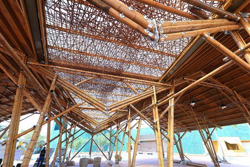 輕食竹棚內部。圖片來源:台中市政府