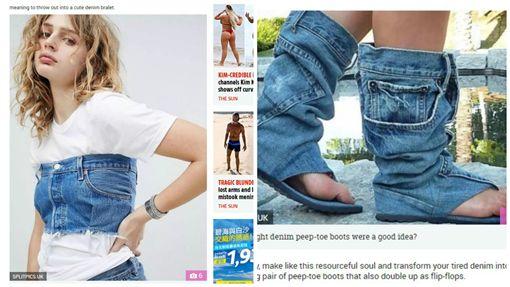 網友KUSO大搞IKEA藍色環保購物袋(圖/翻攝自太陽報)
