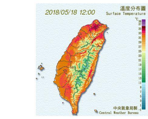 提防中暑!台北中午37.4度破紀錄天氣,炎熱,中暑,防曬,水份,氣象局,台北中央氣象局