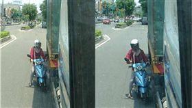 女騎士緊貼大車躲太陽 網怒吼「拜託別出來害人!」 圖/翻攝爆怨公社