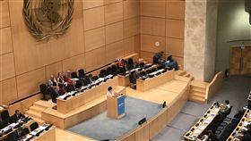 世界衛生大會會場WHA於21日開幕,22日上午繼續進行各國代表發言。美國、日本與澳洲代表均發言挺台。(WHA採訪團提供)中央社記者戴雅真日內瓦傳真 107年5月22日