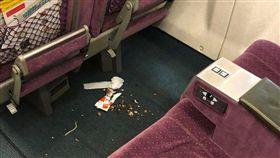 網友搭高鐵商務艙,遇上辣媽帶小孩把環境弄超髒。(圖/翻攝爆料公社)