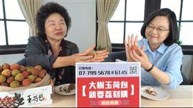 總統蔡英文和總統府秘書長陳菊24日透過臉書直播,推銷高雄大樹的的玉荷包荔枝。(圖/臉書直播截圖)