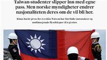 [翻攝自Aftenposten https://www.aftenposten.no/verden/i/OnJa4k/Taiwan-studenter-slipper-inn-med-egne-pass-Men-norske-myndigheter-endrer-nasjonaliteten-deres-om-de-vil-bli-her]