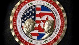 紀念川金會,白宮推出「美國北韓高峰會」紀念幣。(圖/翻攝白宮通訊局)