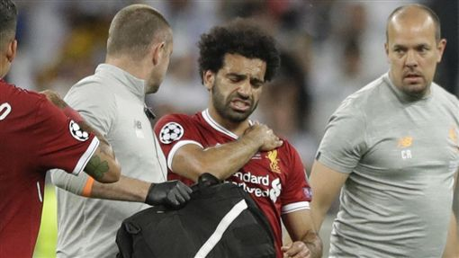 薩拉薩「埃及梅西」薩拉薩(Mohamed Salah)受傷退場。(圖/美聯社/達志影像)