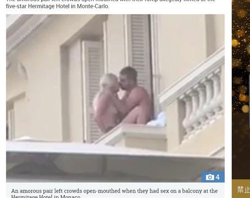 情侶在五星飯店陽台做愛。(圖/翻攝自太陽報)