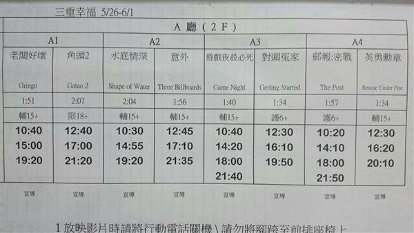 三重幸福電影城 電影片單 2018/5/26-2018/6/1