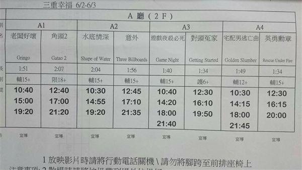 三重幸福電影城 電影片單 2018/6/2-2018/6/3