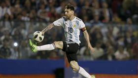 梅西帽子戲法,阿根廷熱身賽4比0勝海地。(圖/美聯社/達志影像)