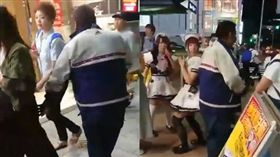 男子在人來人往的鬧區隨機對女生襲擊下體。(圖/翻攝推特)