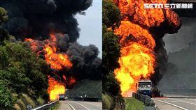 國道3號南下油罐車爆炸著火
