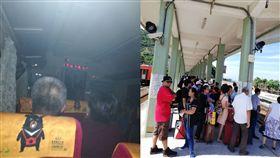台鐵列車行駛間配電盤突著火 車廂煙霧密布旅客緊急疏散 合成圖/張姓民眾提供