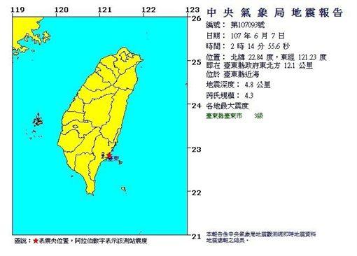0607台東凌晨地震(圖/中央氣象局)