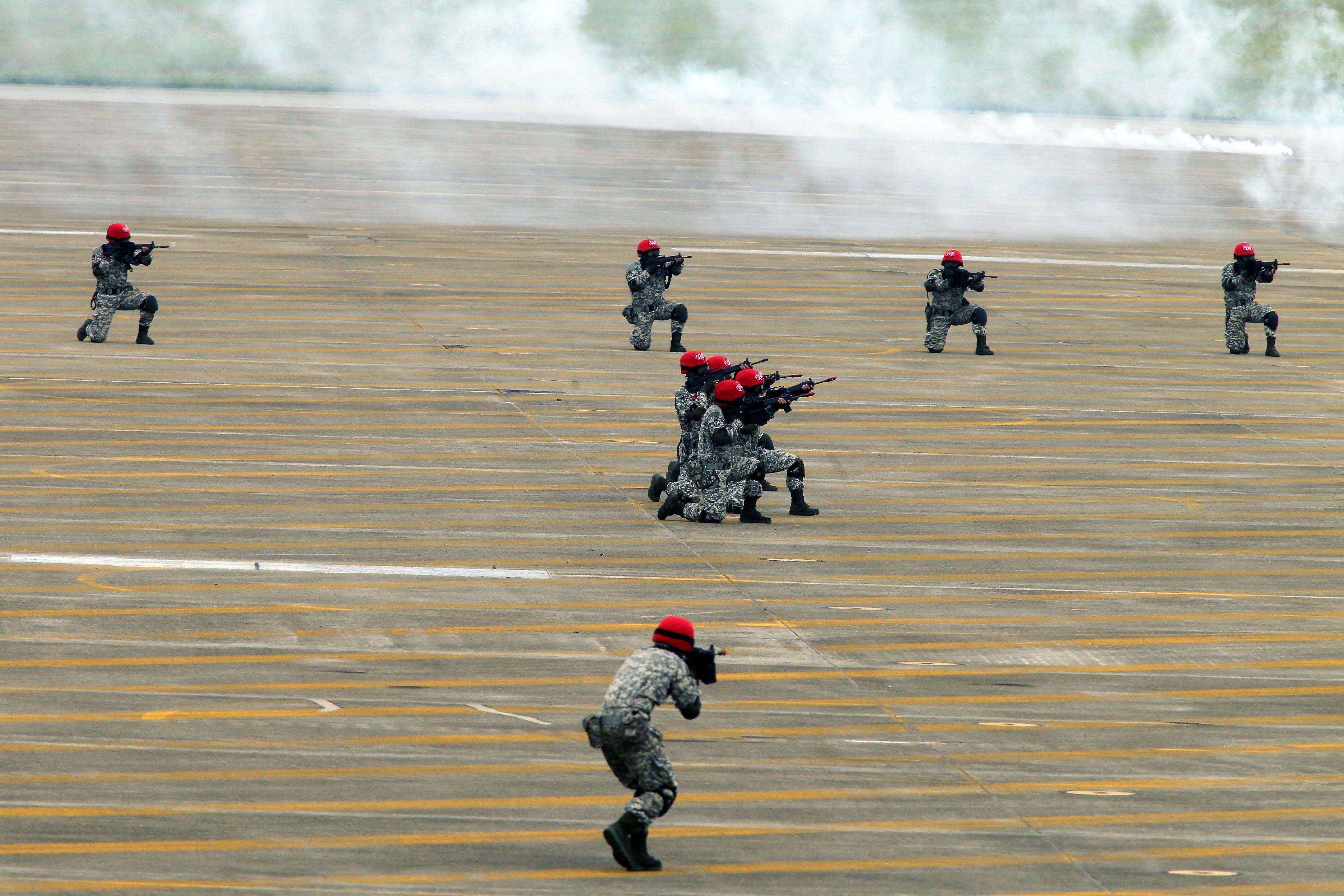 漢光34演習反空降敵軍進入我領域。(記者邱榮吉/清泉崗拍攝)