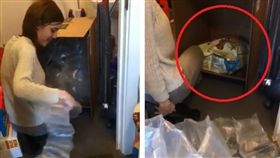 英國一名女子「Jools Bullingham」在亞馬遜網站買了2包狗糧,結果到貨後,她收到2個巨大紙箱,而紙箱內還有近150個氣泡袋,她整整拉了30秒氣泡袋才看到狗糧。其他網友看到後,紛紛調侃「妳買的一套全新的陶瓷茶具?」(圖/翻攝自Jools Bullingham臉書)