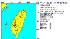今(10)日下午4點18分發生有感地震,根據中央氣象局地震報告指出,這起地震的震央位於嘉義縣政府東偏北方32.7公里,芮氏規模3.6,震源深度7.9公里。(圖/中央氣象局)