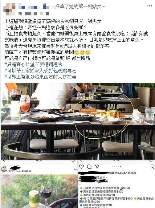 部落客疑似被抓包浪費 圖/翻攝自臉書爆料公社