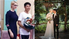 撒貝寧同框妻子李白,網友慶幸他沒娶章子怡。(圖/翻攝自微博)