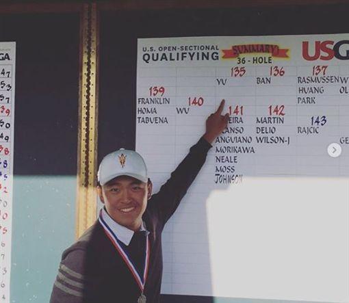 俞俊安以地區資格賽第1名取得美國公開賽參賽資格。(圖/翻攝自俞俊安 IG)