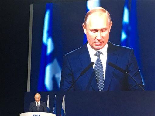俄羅斯總統普丁在世足開幕典禮上致詞。(圖/足協理事長林湧成提供)