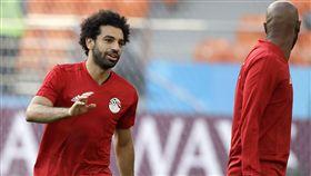 埃及世界盃首戰烏拉圭,教練對薩拉赫出賽感樂觀。(圖/美聯社/達志影像)