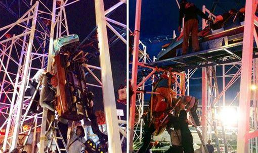 美國佛州德通納海灘大道(Daytona Beach Boardwalk)一座雲霄飛車發生脫軌意外,車上乘客卡在高空中、遭拋飛(圖/翻攝自推特)