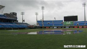 ▲桃園青埔球場15日因雨延賽,內野出現積水。(圖/記者蕭保祥攝)