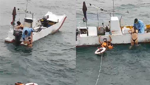 比基尼辣妹浮潛浮到沒力漂流海上,被附近漁船發現救起。(圖/翻攝畫面)