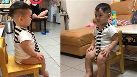 1歲娃看巧虎表情超嚴肅,「坐姿英挺」網驚呼:是在看莒光園地吧!(圖/網友授權提供)