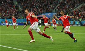 俄羅斯進球得分。(圖/路透社/達志影像)
