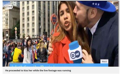 女記者遭球迷強吻還伸鹹豬手(圖/翻攝自鏡報)