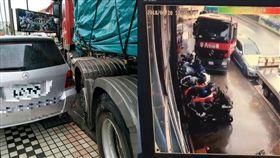 聯結貨櫃車撞機車行一排新機車/翻攝自臉書《重機車友▕ 各區路況、天氣回報中心》