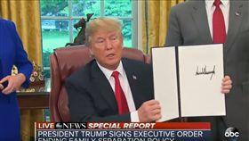 ▲美國總統川普簽署行政命令(圖/翻攝自ABC News Youtube)