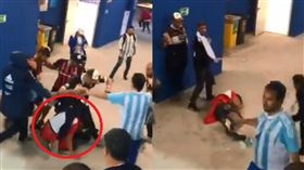 克羅埃西亞球迷竟被阿根廷球迷圍毆 圖/翻攝自Caracol Deportes推特