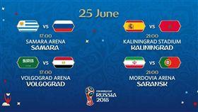25日世足賽賽程同時兩地開打。(圖/取自FIFA推特)