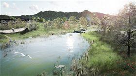 永春陂濕地公園二期動土 提供多樣生態永春陂濕地公園興建面積約3.9公頃,預計民國108年10月完工,將提供大面積的多樣化生物棲地,減緩降雨對都市排水系統的負荷,同時透過綠地生態營造,每年約可吸收57噸二氧化碳,減少都市熱島效應。圖為示意圖。(台北市工務局提供)中央社記者梁珮綺傳真 107年6月25日