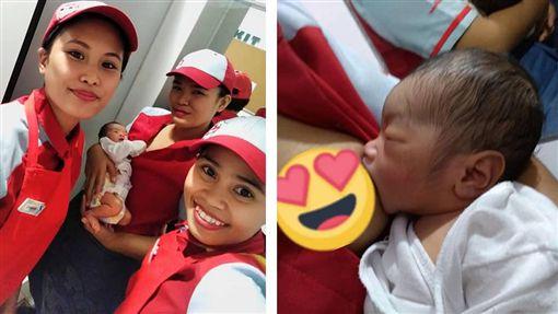 菲律賓一家炸雞連鎖店日前收到一名男棄嬰,女員工看到後紛紛「母愛大噴發」,就連經理都親自餵哺母乳,並希望有機會能領養。目前男嬰被社會福利部門接走,警方則持續追尋男嬰父母的下落。(圖/翻攝自臉書Jesica Tan Verano)