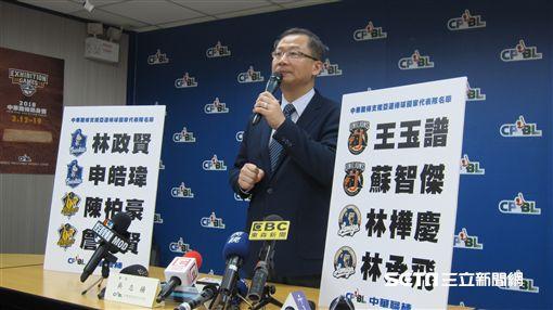 ▲中華職棒會長吳志揚宣布職棒支援8名選手出戰雅加達亞運。(圖/記者蕭保祥攝)