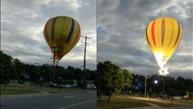 驚悚!美熱氣球失控撞電線爆火光 乘客竟奇蹟毫髮無傷(圖/翻攝自GotItLive 85 YouTube)
