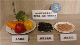 防範脂肪肝  多吃蔬菜少吃加工品(2)防範脂肪肝,台灣褐藻醣膠發展學會營養師蔡儀冠2日說,除減肥、運動,也可從飲食著手,可攝取蔬菜,低脂白肉如雞肉、魚肉,褐藻類如昆布、海帶等。中央社記者梁珮綺攝  107年5月2日